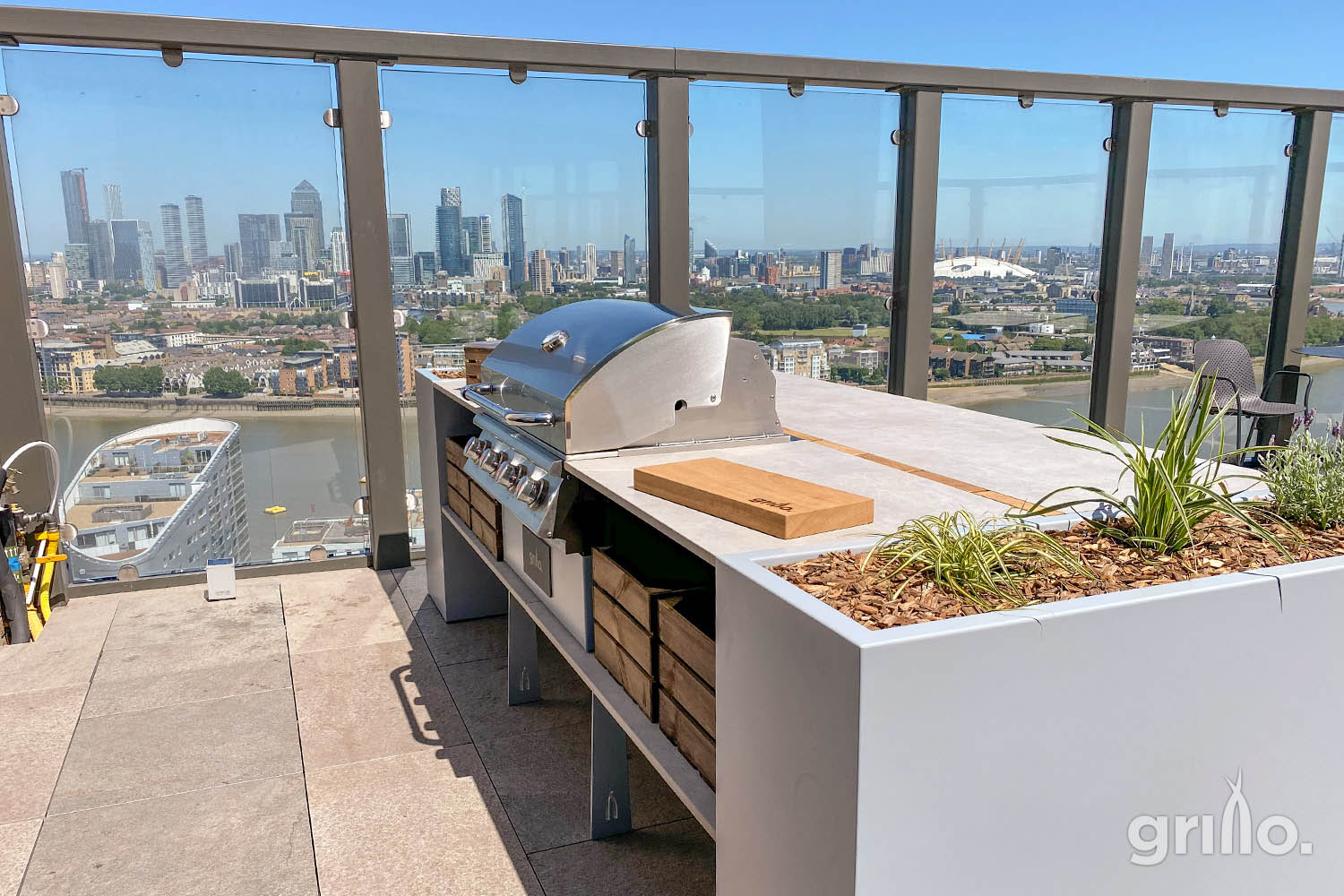 Essential living roof terrace Grillo BBQ Island electric grills for roof terraces