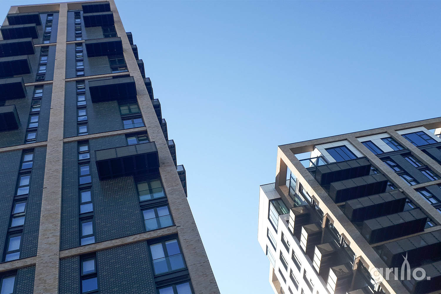 Greenwich tower blocks with Grillo logo in corner electric grills for roof terraces