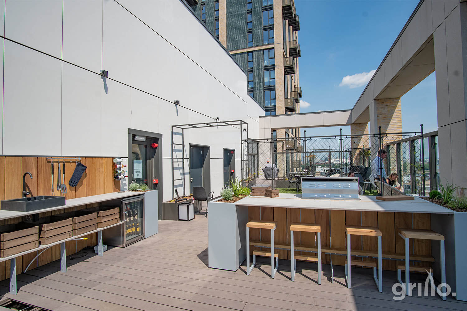 Sunny Grillo Roof Terrace kitchen with island electric grills for roof terraces