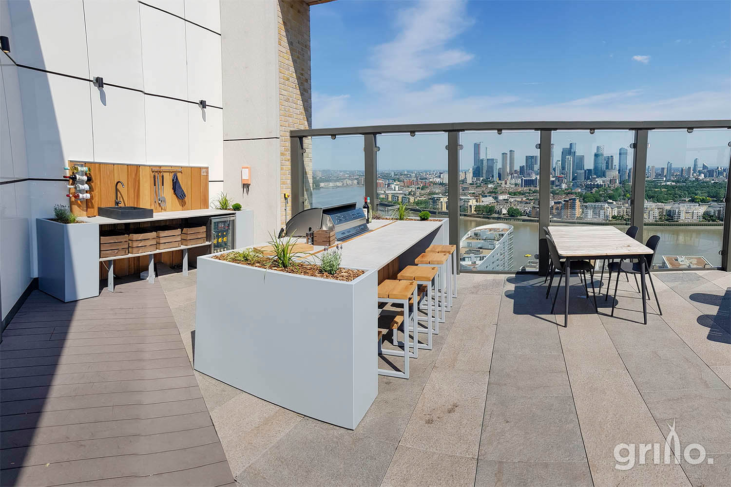 Grillo island and kitchen on roof terrace Greenwich electric grills for roof terraces