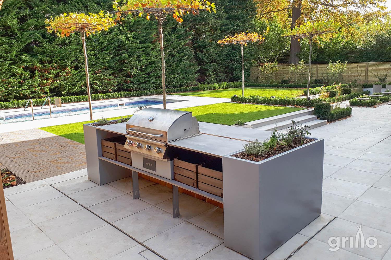 Grillo kitchen island with Cadac grill, planters storage crates