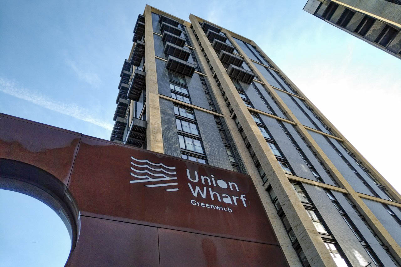 electric grills for roof terraces ground view looking up at Union Wharf Greenwich building