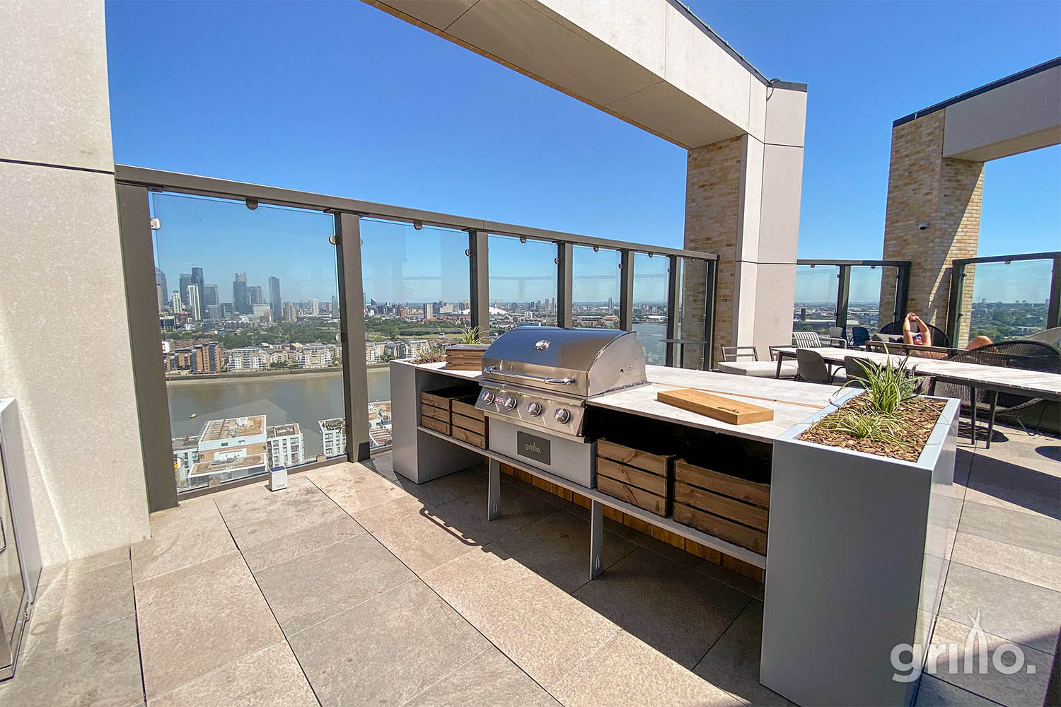roof terrace Grillo kitchen island Cadac, planters, storage crates, Thames