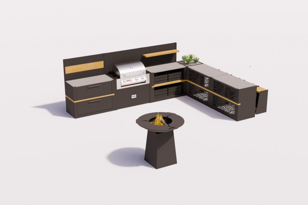 black carbon steel Grillo Vantage l shape Kitchen with iroko inlay and floating shelf plus shadows