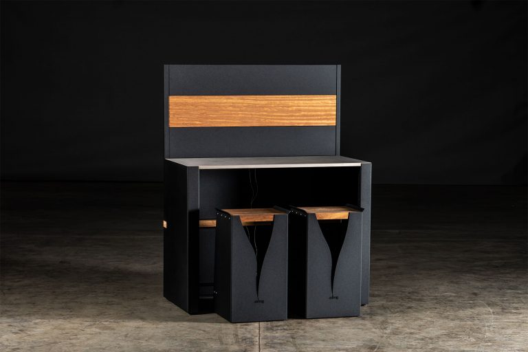 outdoor kitchen cabinets black carbon steel vantage Kitchen Bar and black Signature Rear Fascia with black Carbon Steel Feature Wall and Iroko wood Inlay with two black bar stools