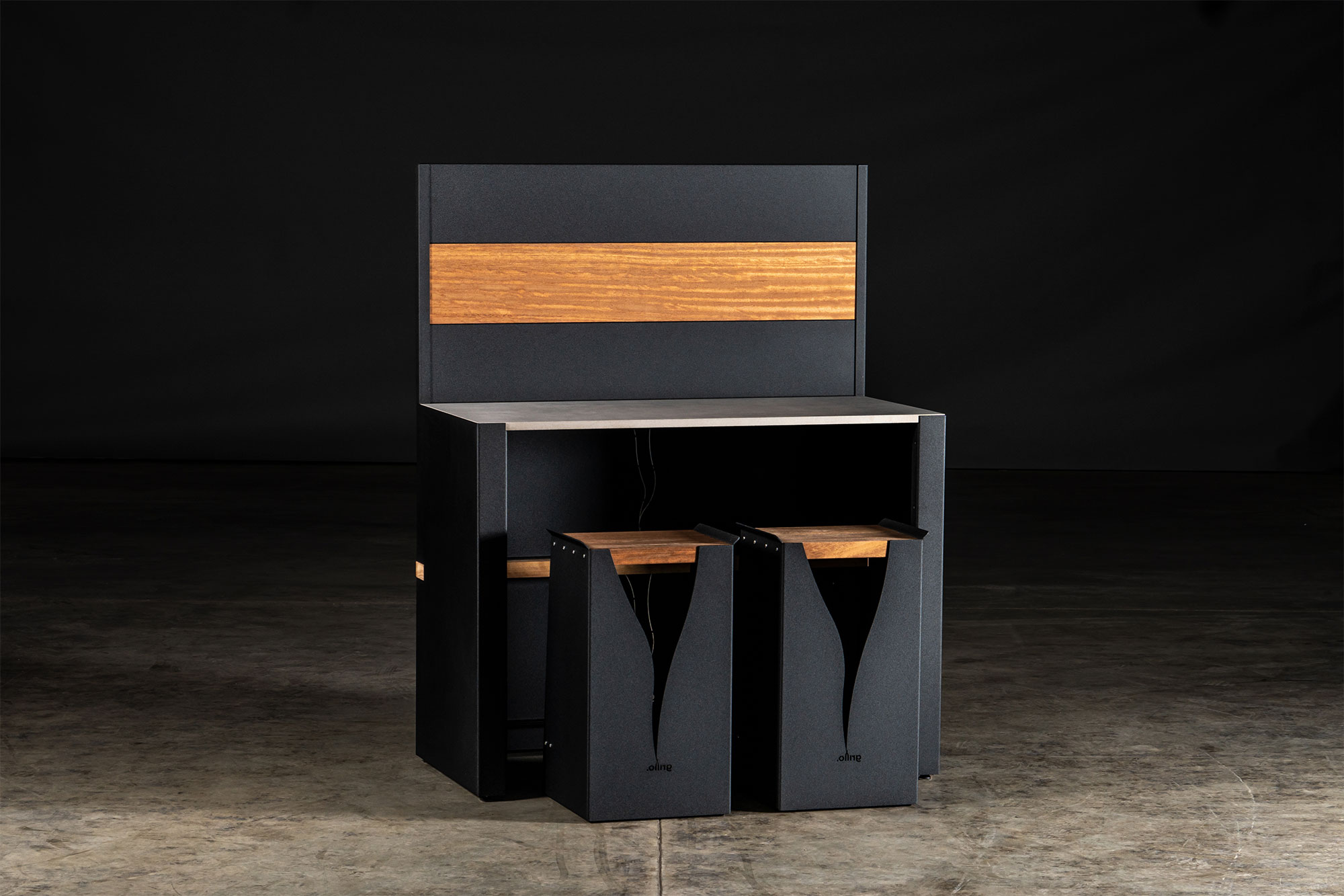 black carbon steel vantage Kitchen Bar and black Signature Rear Fascia with black Carbon Steel Feature Wall and Iroko wood Inlay with two black bar stools