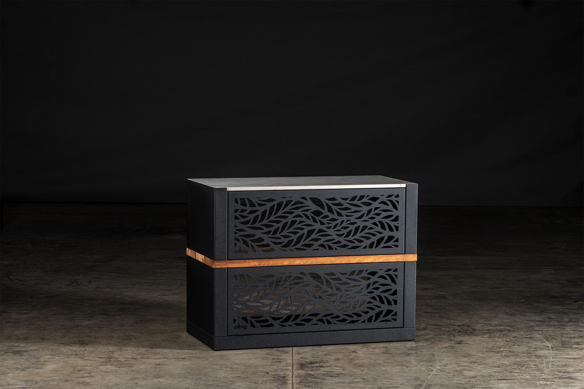 black carbon steel vantage Kitchen Cabinet Back View with black Habitat Rear Fascia and grey porcelain worktops