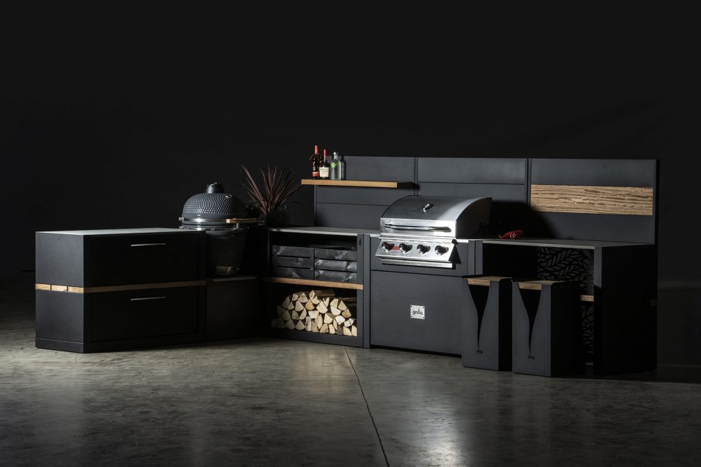 black carbon Steel Vantage Grillo Kitchen with Iroko wood Inlay and Floating drinks Shelf, incorporated gas and charcoal barbeque and two matching bar stools