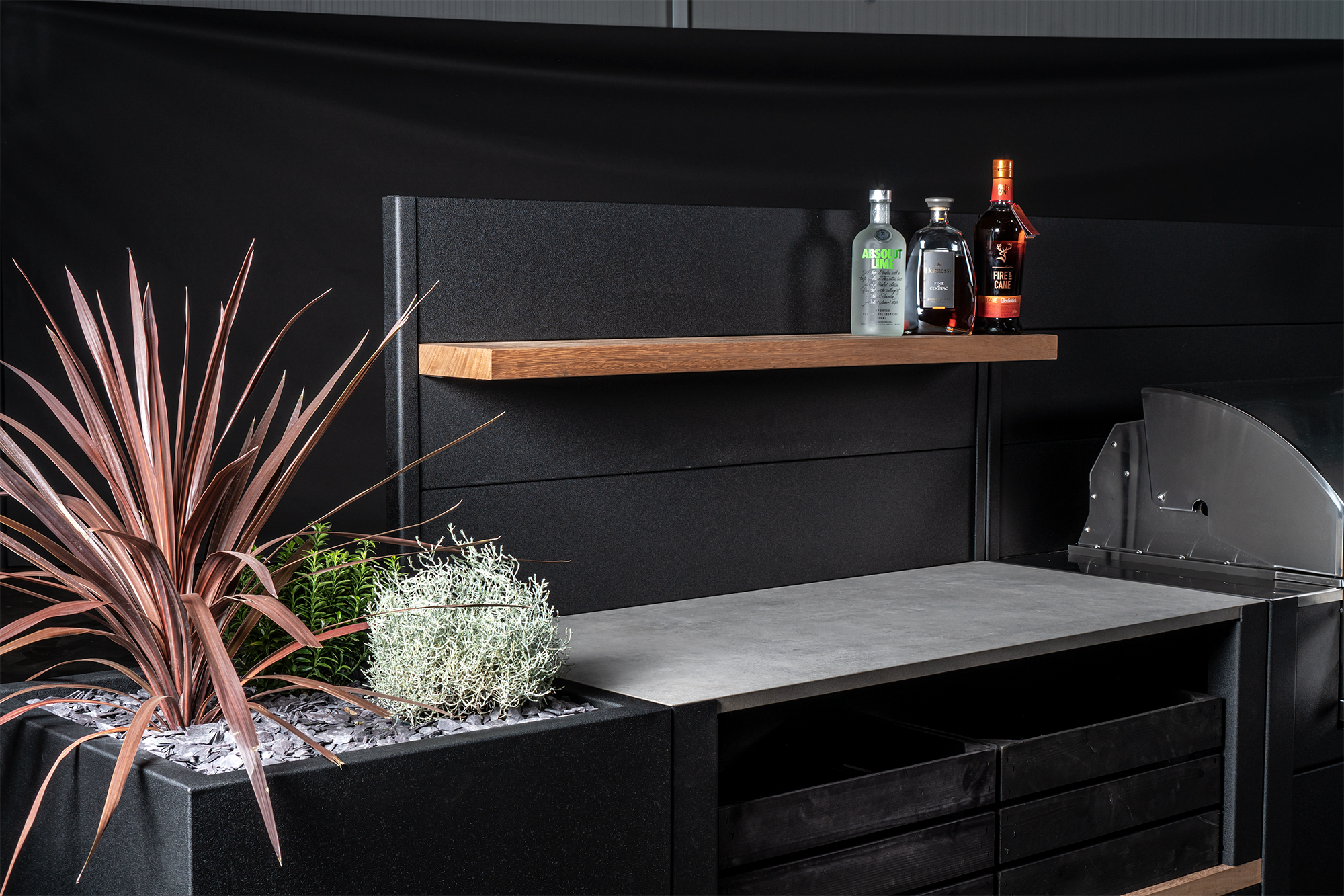 Feature Wall Carbon Steel with Iroko Shelf