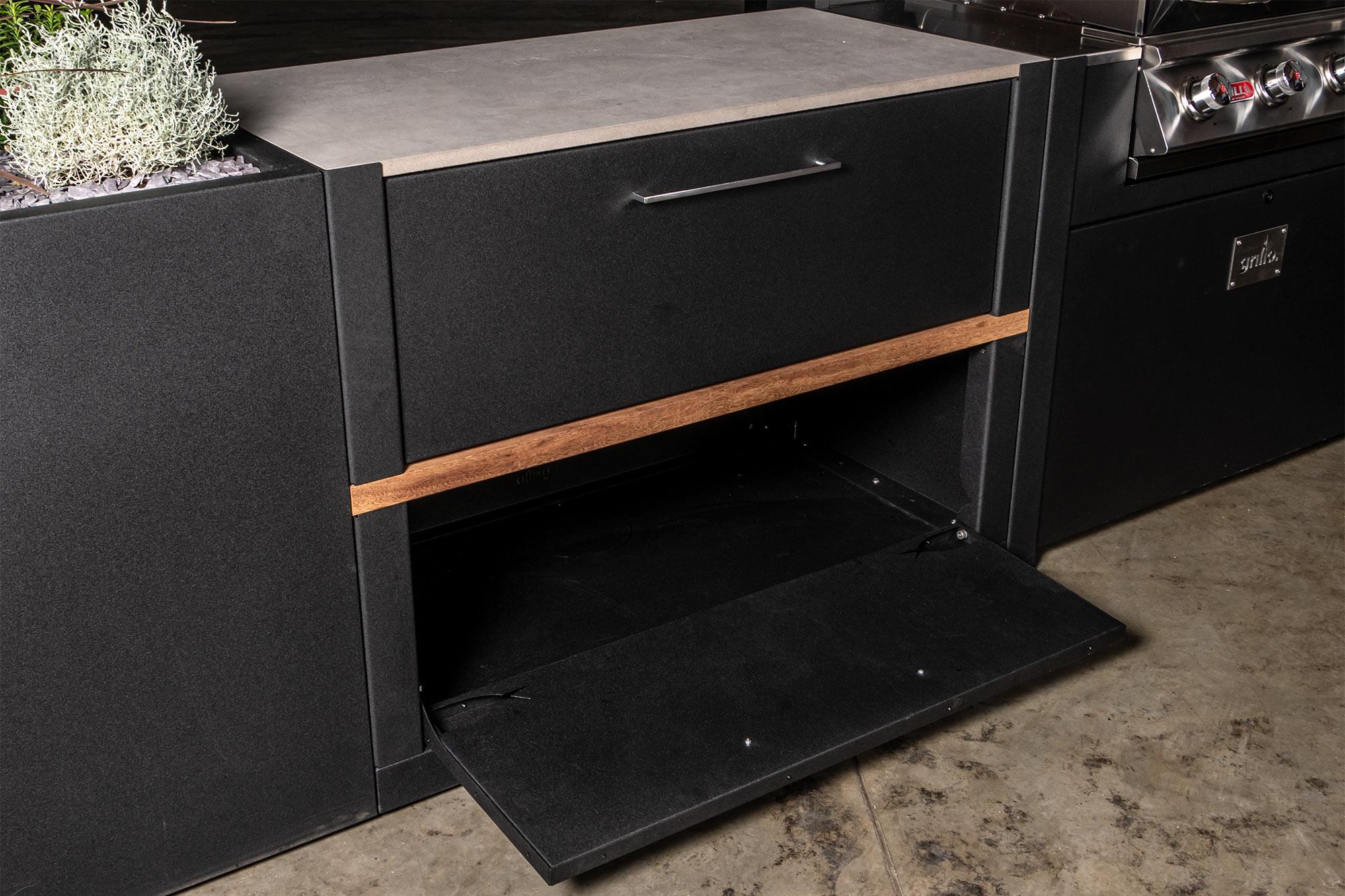 Frontage cabinet doors open