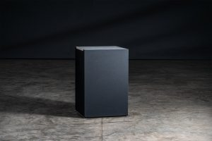 Vantage Tall Square black carbon steel base with grey porcelain worktop